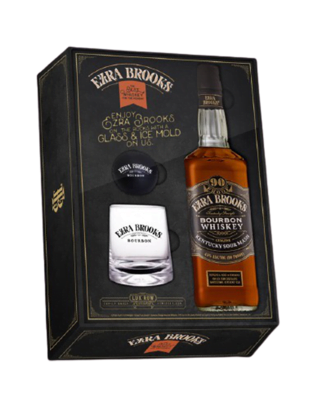 Ezra Brooks Bourbon Whiskey Glass & Ice Ball